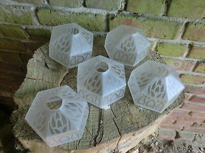 Vintage French Art Nouveau Art Deco Frosted Etched  Glass Light Lamp Shade X 5