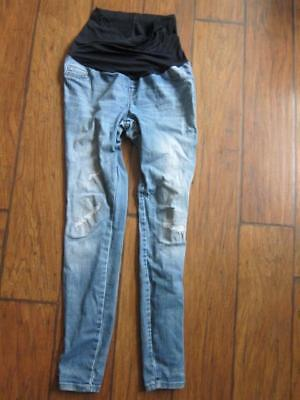Liz Lange maternity Jeggings  stretch skinny faded  jeans distressed xs torn