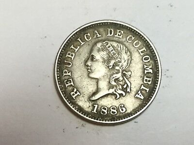 COLOMBIA 1886 5 centavos coin very nice condition
