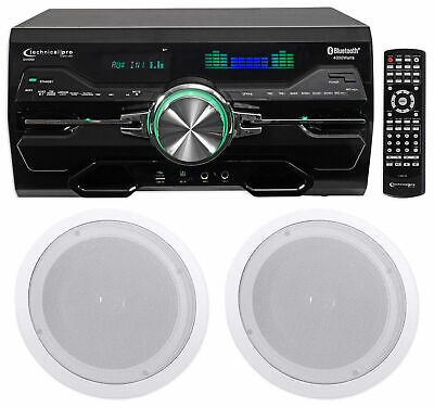 """Technical Pro DV4000 4000w Home Theater DVD Receiver+(2) 8"""" Ceiling Speakers"""