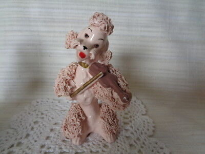 Vintage Pink Poodle Playing Fiddle / Violin - Spaghetti Trim