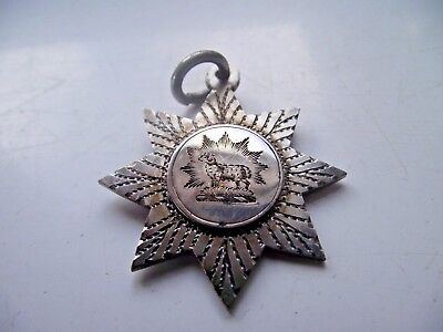 Antique 1905 Pocket Watch Chain Medal Fob Sterling Silver Hallmarked Sheep Ram