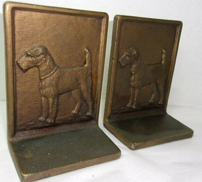 Antique Bradley Hubbard Airedale Terrier Book Ends