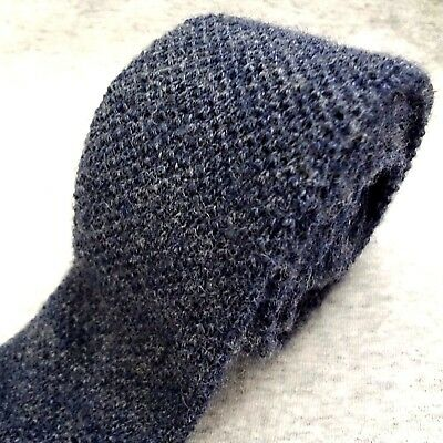 """VINTAGE Private Club KNIT Tie HEATHER BLUE GRAY WOOL Mde USA 51.5""""x2.25"""" SKINNY"""