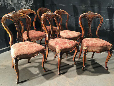 Can Deliver Vintage Antique Mahogany Carved Victorian Balloon Back Dining Chairs