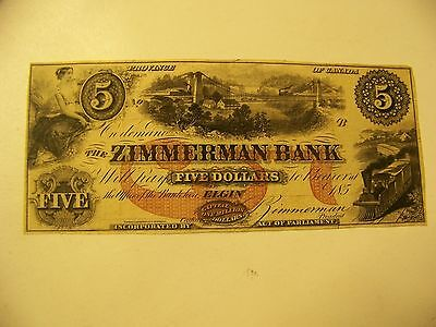 The Zimmerman Bank $5 five dollar obsolete bank note Elgin Canada rare note