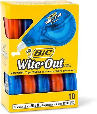 BIC Wite-Out Brand EZ Correct Correction Tape, White, 10-Count 10 Count