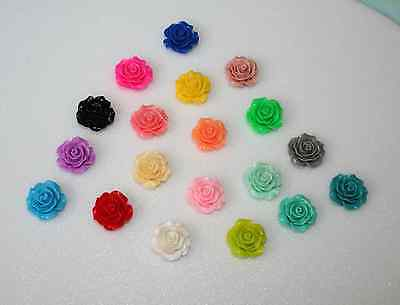 20 Rose cabachons, acrylic ,mixed colours, 20mm