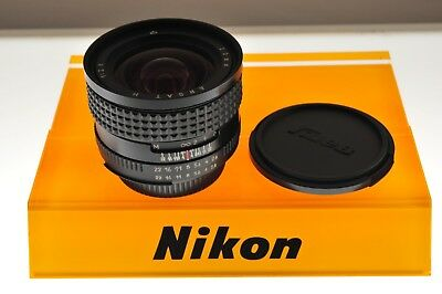Arsat-H 20mm f/2.8 Nikon Ai-s ultra wide lens. In MINT- condition. Good quality.