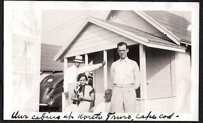Vintage Photograph 1937 Girl Men Car Boston Terrier Dog Puppy Cape Cod Old Photo