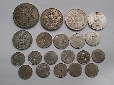 British Silver Coins; Job Lot Of 20.