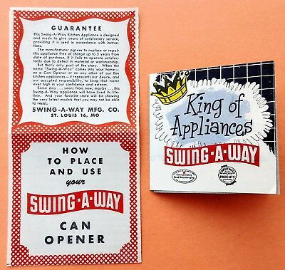 Vintage Swing-A-Way can opener product literature; advertising brochure, booklet
