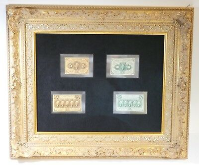 Framed First Issue US Fractional Currency 5, 10, 25 & 50-Cent Notes Crisp Unc