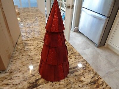 Longaberger  Small  Red Glitter Tree Christmas