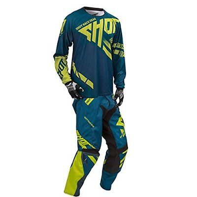 SHOT race gear RACEWAY combo motocross men's pants 30,jersey MEDIUM navy/lime