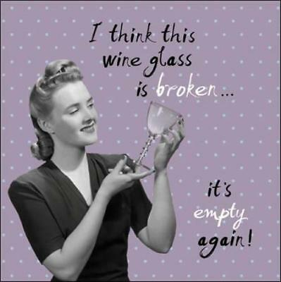 Empty Wine Glass Retro Humour Birthday Card Funny Greeting Cards
