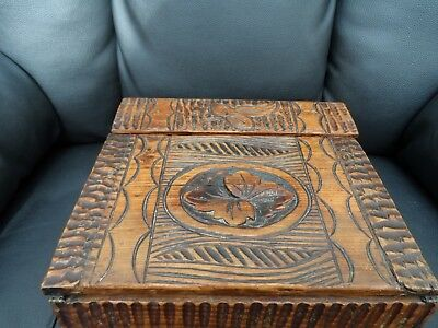 Vintage carved wooden writing desk tidy box or other
