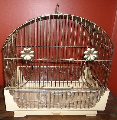 Vtg Metal & Plastic Pacific Cage & Furniture Co. CA. Vines Flowers Bird Cage