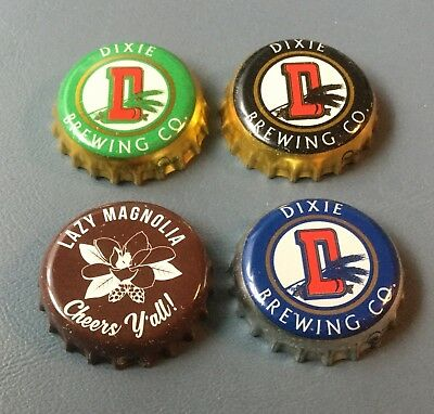 4 used plastic lined beer bottle caps 3 different Dixie Beer, 1 Lazy Magnolia