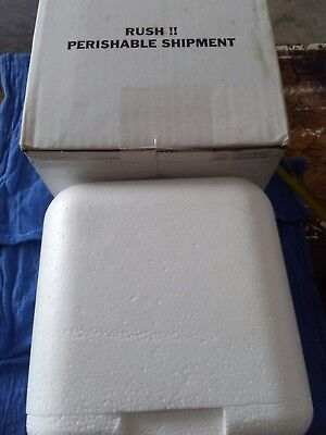 "O.D. 9.5x8x8"" STYROFOAM INSULATED SHIPPING COOLER AND BOX I.D. 6.5x4.75x5.25"""