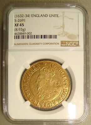 1632-34 Great Britain, Charles I Gold Unite NGC XF45