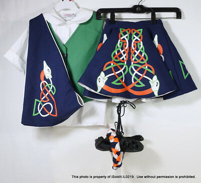 GIRLS IRISH DANCE COSTUME OUTFIT Skirt Blouse Vest Shoes Sash Hairband