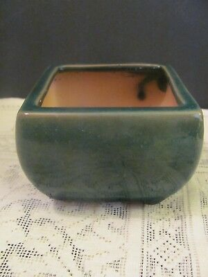 #143 Vintage Japanese Pottery Bonsai Pot Square Green Glazed