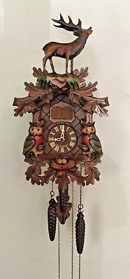 Hubert Herr Black Forest Hand Carved Cuckoo Clock Owl & Stag ~ Edelweiss