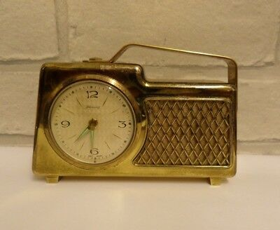 Vintage Musical  Alarm Clock In The Shape Of A Radio Made In Germany.  Working