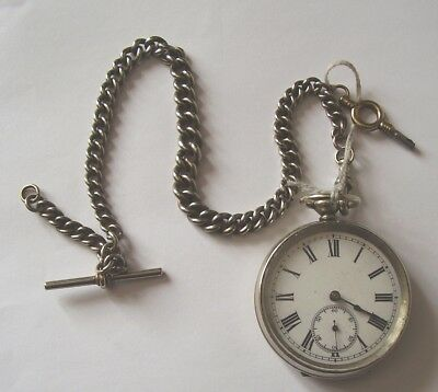 ANTIQUE POCKET WATCH & DOUBLE ALBERT CHAIN FINE WORKING ORDER circa 1890
