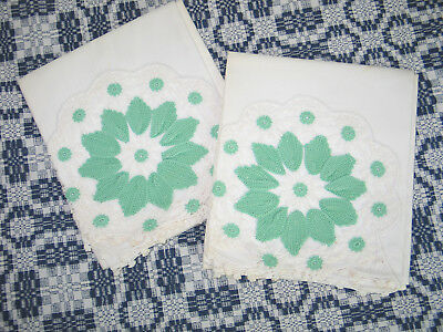 Beautiful Pair Antique Vintage IRISH CROCHET LACE PillowCases