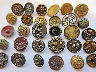 LARGE Lot of 30 Antique~ Vtg Small Metal BUTTONS Victorian, Cut Steel+ (B3)