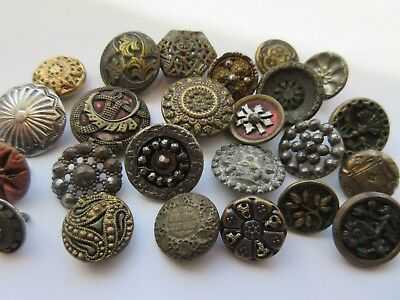 LARGE Lot of Antique~ Vtg Small Metal BUTTONS Victorian, Cut Steel+ (B2)
