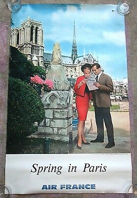 "Original Vintage 1960s AIR FRANCE ""Spring in PARIS"" Airline Travel Poster 24x39"
