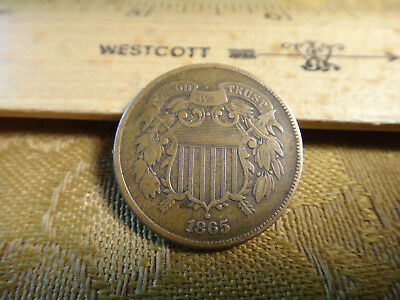 1865 United States Two Cent Piece 2c - No Reserve - Free S&H USA
