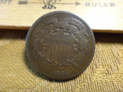 1864 United States Two Cent Piece 2c - No Reserve - Free S&H USA