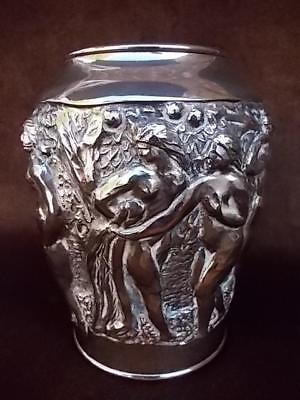 804 / Beautiful Early 20Th Century Japanese Silver Plated Vase With Nude Figures