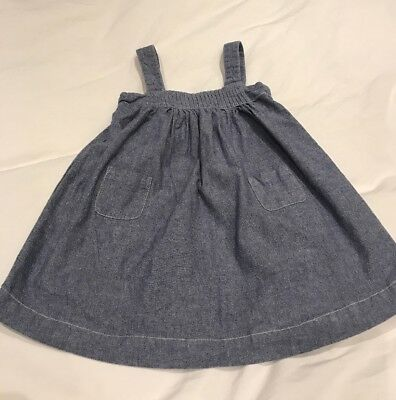The little white company baby girl Chambray Pinafore Dress Age 12-18 Months