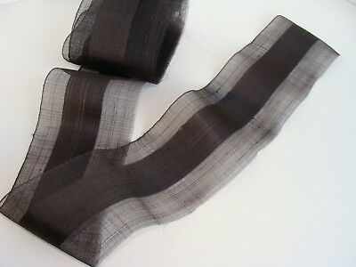 Antique Dark Mocha Sheer Gossamer Fine Pure Silk Organza Ribbon Millinery Trim