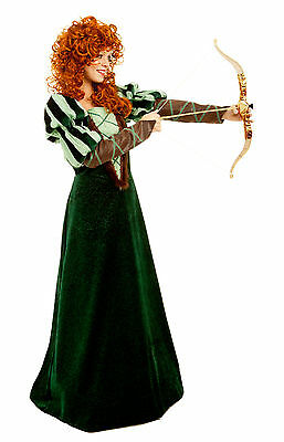 Forest Princess Merida Brave Renaissance Medieval Costume Dress 4-14 Adult S-L