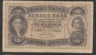 10 Kroner From Norway 1942