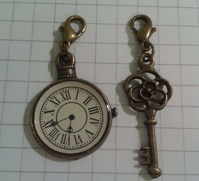 "2 Charms "" Small Clock+ Key"" Lobster Antique Gold Plated For  Handbags / Purses"