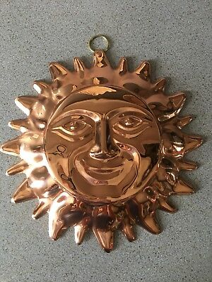 "New Copper Coated Metal SUN Face 9.5"" Diameter Yard Decor Garden Wallhanging"