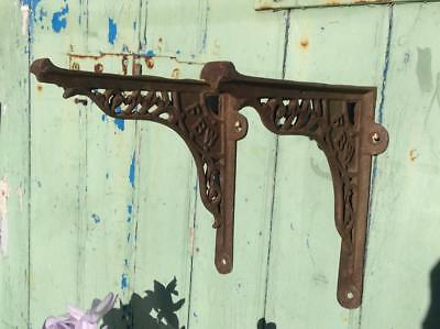 Antique French Victorian Cast Iron Cistern Brackets Quirky Shelving Rustic Chic