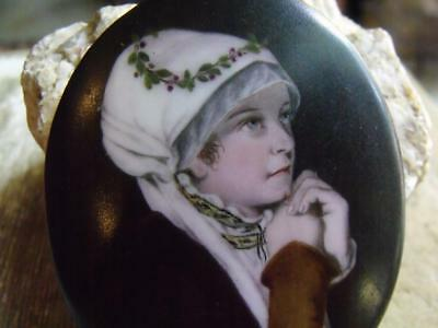 Lovely Small Vintage Hand Painted Porcelain Piece Pediment Period Dressed Woman