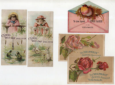 5 Victorian Tradecards, Helpmate Sewing Machine & Clark's Thread Girls At Fence