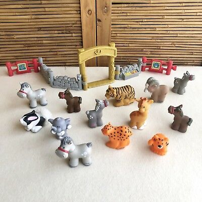 BULK Lot ~ Fisher Price LITTLE People ZOO ANIMALS 13X Animals and some FENCING