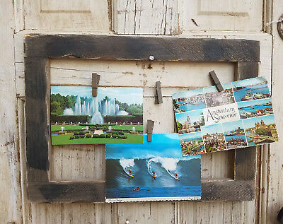 Horizontal Primitive Wood Picture Frame with Jute String & Clothes Pin Clips~New