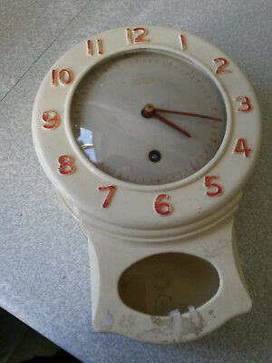 Vintage Wall clock Smiths Enfield - bakelite / plastic-   needs key and pendulum