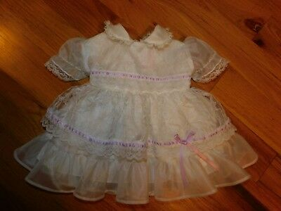Kandy Ann Vintage White Baby Party Dress 9 Month w/ Purple Trim Tie Back TLC